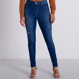 Calça Jeans Cigarrete Detalhes em Laser Patrícia Foster Azul Medio
