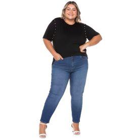Calça Jeans Cigarrete Plus Size com Used Patricia Foster Mais Blue