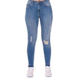 Calça Jeans com Puídos Cigarrete Patricia Foster Blue