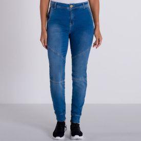 Calça Jeans Comfy Skinny com Recortes Patrícia Foster Azul Medio