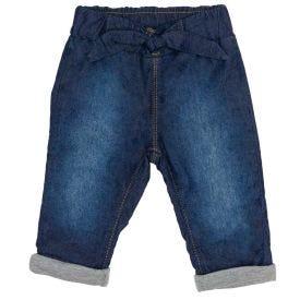 Calça Jeans de Bebê com Laço Frontal Alakazoo Jeans Escuro