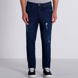 Calça Jeans Modelo Slim Marc Alain Blue Escuro