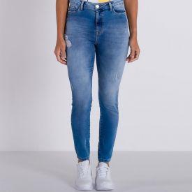 Calça Jeans Moletom com Puídos Patrícia Foster Azul Medio