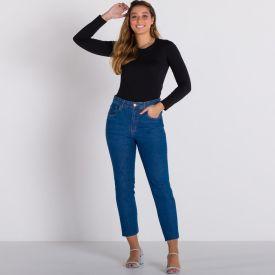 Calça Jeans Mom Barra a Fio Patrícia Foster Azul Medio