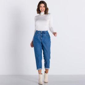 Calça Jeans Mom Básica Patrícia Foster Blue Medio
