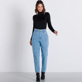 Calça Jeans Mom com Bolsos Diferenciados Boby Blues Blue Claro