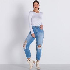 Calça Jeans Mom com Rasgos Boby Blues Blue Medio