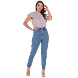 Calça Jeans Mom Marmorizada Patrícia Foster Blue