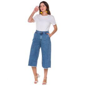 Calça Jeans Mom Pantacourt Patrícia Foster Azul Medio