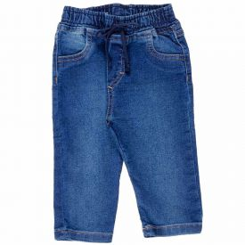 Calça Jeans P ao G Jogger com Cordão Yoyo Baby Azul
