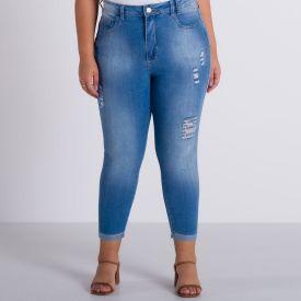 Calça Jeans Plus Size Barra Dobrada Patrícia Foster Mais Azul Claro