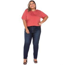 Calça Jeans Plus Size Cigarrete com Strass Patrícia Foster Mais Azul Escuro
