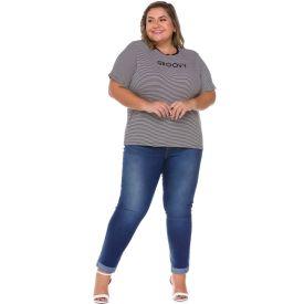 Calça Jeans Plus Size Cigarrete Patrícia Foster Mais Azul Medio