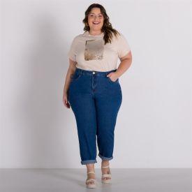 Calça Jeans Plus Size Mom Patricia Foster Mais Azul Medio