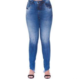 Calça Jeans Skinny Barra Assimétrica Desfiada Patrícia Foster Azul Medio