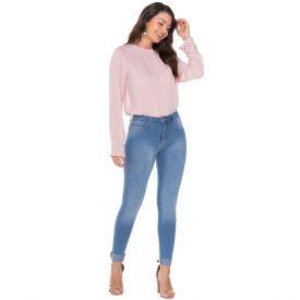 Calça Jeans Skinny Bigodes a Laser Biotipo Azul Medio