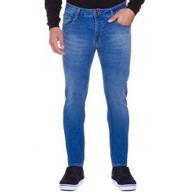 Calça Jeans Skinny com Bigodes Contrastantes Marc Alain Blue Medio