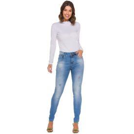 Calça Jeans Skinny com Puídos e Bolsos Patrícia Foster Azul Claro