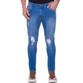 Calça Jeans Skinny com Puídos Thing Blue Claro