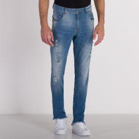 Calça Jeans Skinny com Rasgos Thing Blue Medio