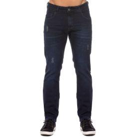 Calça Jeans Skinny Escura com Puídos Marc Alain Dark Blue