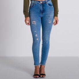 Calça Jeans Skinny Puídos Patrícia Foster Azul Claro