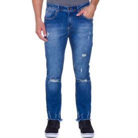 Calça Jeans Slim em Fio Contrastante Thing Azul Escuro