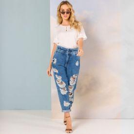 Calça Jeans Slouchy com Rasgos Sawary Azul Médio
