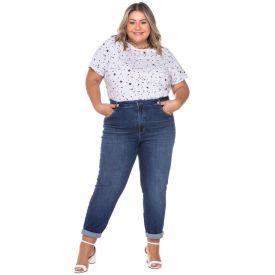 Calça Plus Size Skinny Jeans com Used Patricia Foster Mais Dark Blue