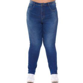 Calça Plus Size Skinny Jeans Patricia Foster Mais Azul Medio