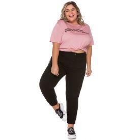 Calça Sarja Jogger Plus Size Patrícia Foster Mais Preto