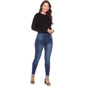 Calça Skinny Jeans com Bigodes a Laser Biotipo Azul Medio