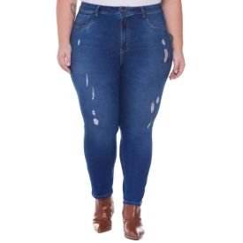 Calça Skinny Plus Size Jeans Patrícia Foster Mais Azul Medio