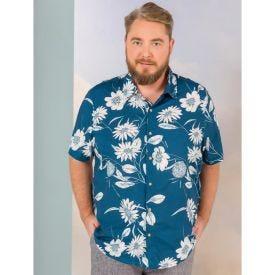 Camisa  Plus Size Viscose Estampada com Flores Thing Azul Marinho
