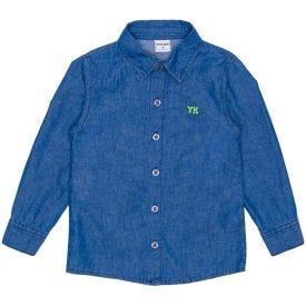 Camisa 1 a 3 anos Jeans com Bordado Yoyo Kids Azul