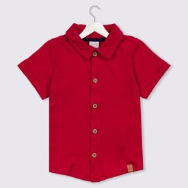 Camisa 1 a 3 anos Meia Malha Lisa Alakazoo Vermelho