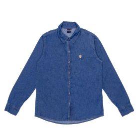 Camisa 12 a 16 anos Jeans + Bordado Hot Dog Azul