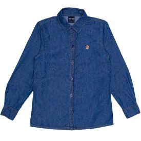 Camisa 4 a 10 anos Jeans Bordado Pata Hot Dog Azul