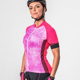 Camisa Bike Jewel Zíper Total Poker Rosa/Vinho