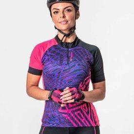 Camisa Bike Root 1/2 Zíper Poker Rosa/Celeste/Preto