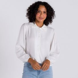 Camisa com Pregas Patrícia Foster Off White