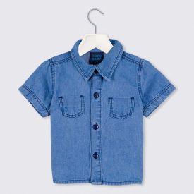 Camisa de Bebê Jeans Bolsos Vista Yoyo Baby Jeans