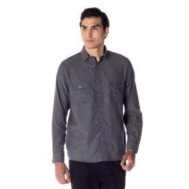 Camisa Flanela com Lapela Thing Preto Liso