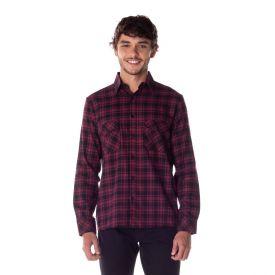 Camisa Flanela com Lapela Thing Bordô