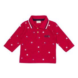Camisa Infantil Polo Manga Longa em Piquet Fakini Vermelho