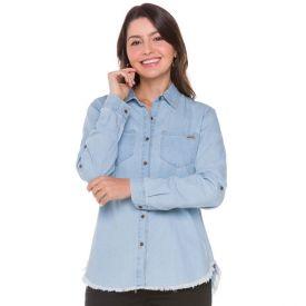 Camisa Jeans com Bolso Chapado Contatho Light Blue