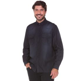 Camisa Jeans com Bolsos Marc Alain Preto