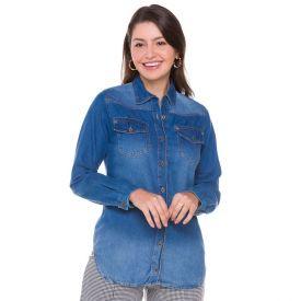 Camisa Jeans com Lapela e Bolsos Contatho Blue