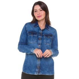 Camisa Jeans com Lapela e Bolsos Patricia Foster Blue