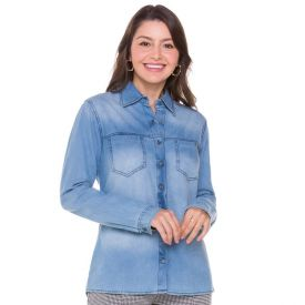 Camisa Jeans com Pala Frontal Patricia Foster Blue